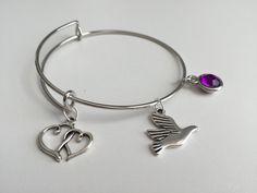 Sigma Kappa ~ 3 Charm Stackable Bangle Bracelet ~  Purple Crystal ~ Dove Charm…
