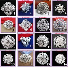 16PCS Mixed Faux Pearls And Crystals Flower Pin Brooch Wedding Bouquet Broaches