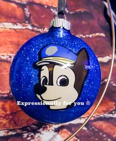 Paw Patrol character glitter personalized christmas ornament.