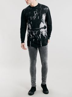 Black Acid Wash Spray On Jeans - Topman