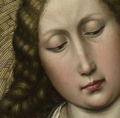 Particolari numero 4. Robert Campini: Vergine con Bambino vicino al camino. Olio e tempera su tavola di quercia, del 1440 circa. Cm 63,4 X 48,5. National Gallery, Londra. Dietro i suoi capelli a piccole onde, lasciati sciolti sulle spalle, il disegno di vimini intrecciati del paracamino.
