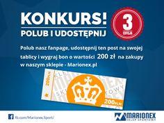 Konkurs w sklepie Marionex.pl Weź udział w konkursie i zgarnij 200 zł na zakupy w sklepie internetowym Marionex.  http://marionex.pl/