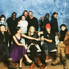 Emily Kinney with her Walking Dead co-stars (and a fan). Lawrence is killing it back there lol