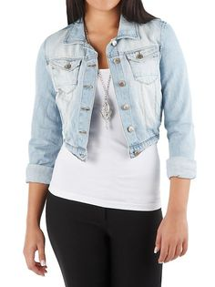 Levis FITTED Cropped Denim Jacket 3/4 sleeves CUTE | Levis ...
