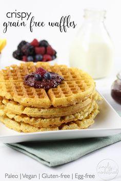 Crispy Grain-free Waffles | Say good-bye to tasteless frozen waffles from a box and helllllooooo to the  crispy grain-free waffles of your breakfast dreams | Paleo | Vegan | Whole 30 | Gluten-Free | http://simplynourishedrecipes.com/crispy-grain-free-waffles/