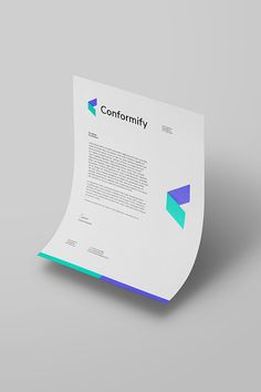 Papel Timbrado Letterhead design for Conformify, a tech company working in the medical device space. Personal Identity, Corporate Identity, Corporate Design, Identity Branding, Visual Identity, Restaurant Branding, Restaurant Design, Business Card Design, Creative Business