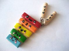 Cute Rainbow Xylophone with Mallets Polymer Clay by MonkeySushi, $12.00
