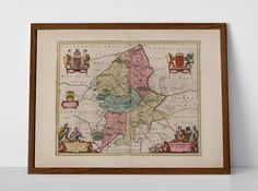 Old Map of Staffordshire, originally created by Willem Janszoon Blaeu, now available as a 'museum quality' poster print.  #Burntwood #Burton-upon-Trent #Cannock #homedecor #travelposter #interiordesign #hahnemuhle #Kidsgrove #Leek #Lichfield #mapStaffordshire #oldmap #Newcastle-under-Lyme #NortonCanes #Rugeley #Stafford #Staffordshire #Tamworth