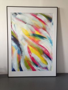 """Huge abstract expressionism original abstract acrylic painting on paper """"Rainbow 2"""", large abstract art  24 x 33.9 inches"""