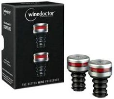 "Winedoctor Barware Kit, Stopper by Wine Doctor LLC. $13.06. A new high-tech ""cork"". Engineered to hold a seal for over 7 days. Only high grade sgs food certified silicone is used. 100-percent recyclable fiberboard packaging. Red indicator warns you if air enters the bottle. Winedoctor kit stopper keeps good wine from going bad. The stopper includes 2 intell-stoppers that works with the grip-touch pump to remove the precise amount of air from wine bottles, ensuring that..."