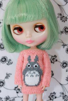 Neo BLYTHE  Dear TOTORO Sweater Tunic  CoralGrey  by DoLLYSToRY, $38.00