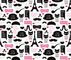Oh la la french paris theme hipster illustration fabric by littlesmilemakers on Spoonflower - custom fabric
