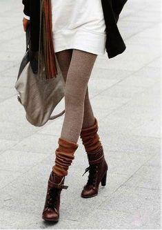 Boot socks over leggings.