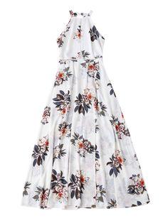 Bohemian Floral Open Back Maxi Dress - WHITE M