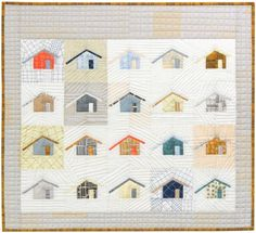 "Outhouse quilt pattern featuring Doe & Architextures fabrics designed by Carolyn Friedlander for Robert Kaufman Fabrics. This quilt measures 29.5"" x 26.5"". Additional information can be found @ www.robertkaufman.com and www.carolynfriedlander.com."