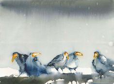Watercolor Artists, Watercolor Bird, Watercolor Animals, Watercolor Paintings, Bird Paintings, Watercolours, Smoke Art, Animal Magic, Bird Illustration