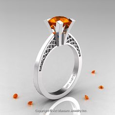 Modern Armenian 14K White Gold Lace 1.0 Ct Orange by DesignMasters, $899.00