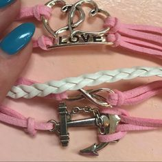 Love/anchor infinity bracelet Leather w charms as shown. Adj from about 7 to 9 inches Jewelry Bracelets