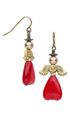 "Earrings with Czech Crackle Glass Beads, Antiqued Gold-Finished ""Pewter"" Beads and SWAROVSKI ELEMENTS"