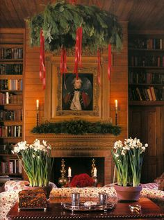 Carolyne Roehm - such a beautiful warm inviting room - I would love to spend Christmas here!