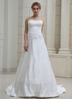 A-Line/Princess Sweetheart Chapel Train Satin Wedding Dress With Lace Beading (002001652) http://www.dressdepot.com/A-Line-Princess-Sweetheart-Chapel-Train-Satin-Wedding-Dress-With-Lace-Beading-002001652-g1652 Wedding Dress Wedding Dresses #WeddingDress #WeddingDresses
