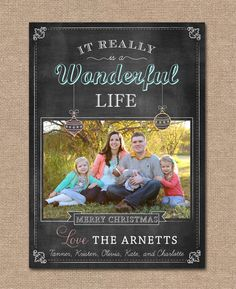 "Photo Christmas Card ~ ""It Really is a Wonderful Life"" Chalkboard Christmas Card"
