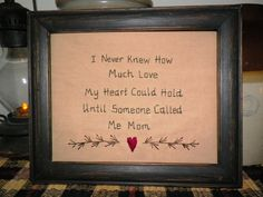 Primitive Sampler Stitchery Picture New Mom Mother by wvluckygirl, $13.99