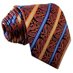Shlax & Wing Paisley Orange Blue Mens Neckties Ties Silk Jacquard Woven This exquisite tie is silk handmade. Moroccan Fabric, Jacquard Weave, Neckties, Paisley, Wings, Silk, Orange, Amazon, Handmade