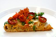 Crawfish, roasted tomato, and farmers cheese pizza