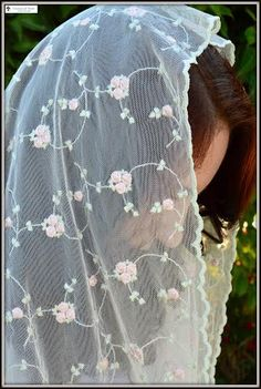 Catholic Chapel Veils Infinity scarf inspired lace chapel veil mantilla Christian headcovering for church, prayer, or daily wear. This is an exquisite embroidered lace on a lovely net. The second phot