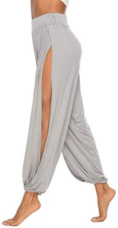 AvaCostume High Slit Harem Pants Women Hippie Harem Pants Trousers LightGray S Flowy Pants, Zumba, Yoga Pants, Harem Pants Outfit, Athleisure, Diy Clothes, Lounge Wear, Ideias Fashion, Pants For Women