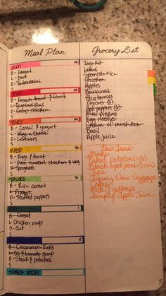 BULLET JOURNAL JUNKIES * FB  meal plan ideas