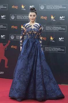 "Fan Bingbing in Zuhair Murad Couture attends the premiere of ""La Fille de Brest"" during the 2016 San Sebastian International Film Festival at the Kursaal Palace in San Sebastian, Spain."