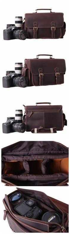 Vintage Genuine Leather DSLR Camera Bag SLR Camera Bag Briefcase Leather Camera Bag