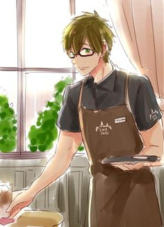 "Free! ~~ Coffee shop boy Makoto apparently works at ""IWA Café"""