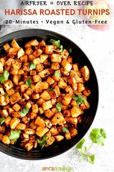 This simple roasted turnips recipe made with a sweet and smoky Harissa paste and tender-crisp turnips is ready in 20 minutes using the airfryer or oven! Turnip Recipes, Oven Recipes, Kitchen Recipes, Side Dish Recipes, Cooking Recipes, Cod Recipes, Eggplant Recipes