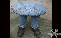 Planter Made of Old Jeans | My husband made me a table out of old jeans. The legs are simply 2 ...