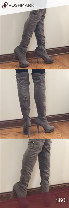 Over-the-knee Jennifer Lopez grey suede boots Jennifer Lopez grey over-the-knee boots. These boots are so so comfortable I absolutely love them! So stylish and trendy. Minimal scratches on fabric and on the wood. Great condition! Jennifer Lopez Shoes Over the Knee Boots