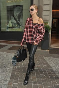 Hailey Baldwin wearing Alaia Lace-Up Leather Platform Ankle Boots and Charlotte Simone Goody Gumdrops Green Fur Key Ring