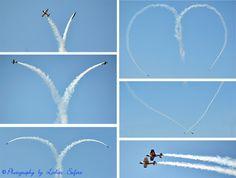 Ein Herz, geflogen von 2 Sportflugzeugen bei der Flugshow in Bautzen. Airshow Saxony, 2 planes fly a heart.