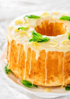Lemon Chiffon Cake Recipe ~ very light and soft and its topped a delicious lemon glaze. From breakfast to dessert this chiffon cake will be a crowd pleaser all the time.Source From soft and delicious lemon glaze. Lemon Desserts, Köstliche Desserts, Lemon Recipes, Sweet Recipes, Baking Recipes, Delicious Desserts, Cake Recipes, Dessert Recipes, Bolo Chiffon
