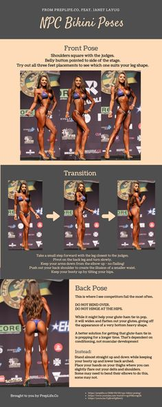 Infographic on npc bikini posing and mandatory poses. Click through to my blog for videos, tips, and tricks on how to pose with sass and flair!