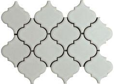 Antique White Arabesque Glazed Mesh Mosaic Lantern Tile