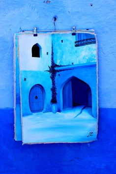 Blue on Blue, a painting for sale - Chefchaouen - Morocco