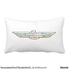 Personalized Ford Thunderbird Emblem/Logo Lumbar Pillow #zazzle #mrtbird #thunderbird #fordclassiccars #1950s #classiccars #giftsformen