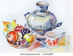Watercolor autumn still life with a samovar and fruit
