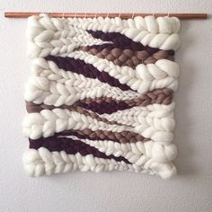 Woven Wall Hanging Wool Roving Weaving by jeanniehelzer on Etsy