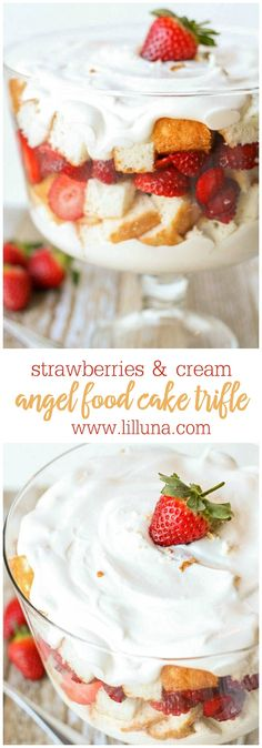 Very simple and delicious Strawberries and Cream Angel Food Cake Trifle., Very simple and delicious Strawberries and Cream Angel Food Cake Trifle. Layers of cake, strawberries and a cool, and white chocolate pudding. Angel Food Cake Trifle, Strawberry Angel Food Cake, Angel Food Cake Desserts, Trifle Desserts, Strawberry Desserts, Summer Desserts, Easy Desserts, Dessert Recipes, Strawberry Trifle