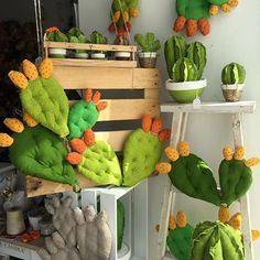 Cactus inspired shop window display using quilted fabric cacti