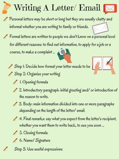 How to write a letter or how to write an essay in English? Useful tips for writing letters, essays in English. Essay Writing Skills, English Writing Skills, Writing Words, Teaching Writing, Writing Letters, English Vocabulary Words, English Phrases, Learn English Words, Email Writing